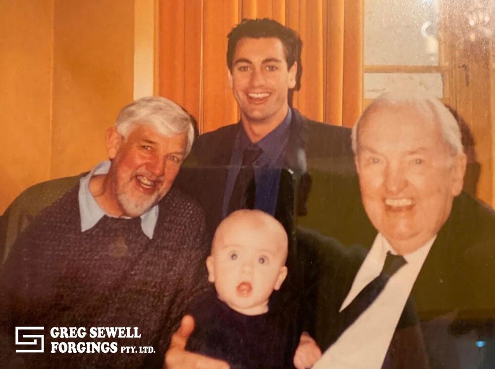 Founder Grandpa Bill Stevens with son Godfrey, grandson John and Great Grandson Billy.